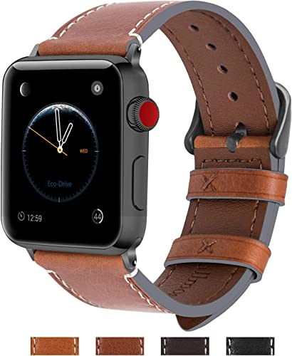 lowest Fullmosa Compatible Apple Watch Band 42mm 44mm 38mm 40mm Genuine Leather new arrival iWatch Bands for iWatch Series SE 6 5 4 3 2 1, 42mm 44mm Light Brown online sale + Smoky Grey Buckle outlet online sale
