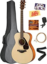 Yamaha FS800 Solid Top Small Body Acoustic Guitar - Natural Bundle with Gig Bag, Tuner, Strings, Strap, Picks, Austin Baza...