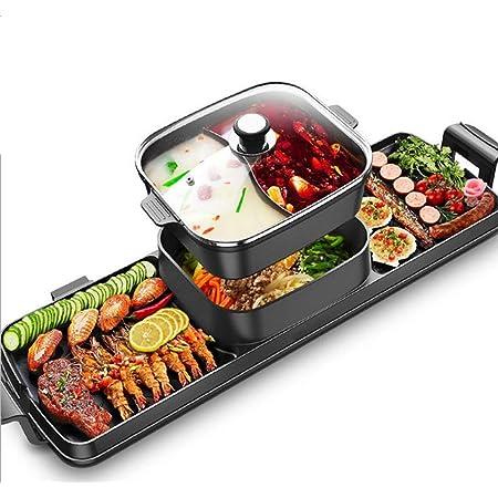 3 en 1 Fondue Electrique Hot Pot BBQ Appareil Fondue Chinoise Service à Fondue Poêle Electrique pour Barbecue Thaï Capacité Convient pour 3-12 Personnes Utensiles Cuisine