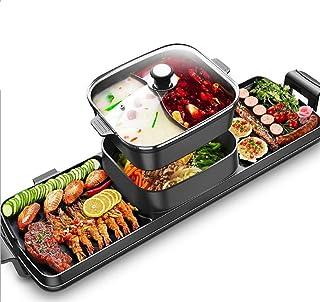 3 en 1 Fondue Electrique Hot Pot BBQ Appareil Fondue Chinoise Service à Fondue Poêle Electrique pour Barbecue Thaï Capacit...