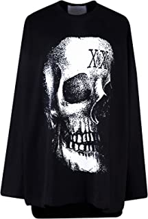 Men's Skull Printed Unbalanced Loose Fit T-Shirt Punk Gothic Darkwear