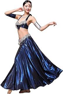 Adult Female Belly Dance Performance Practice Costume Set,Bead Embroidery Bra+Side Split Ice Silk Dance Skirt Set 2PCS APc...