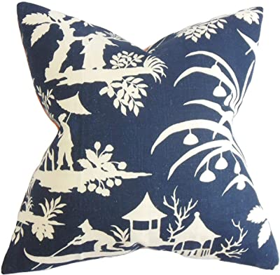 Amazon Com The Pillow Collection Galen Floral Blue Down Filled Throw Pillow Home Kitchen
