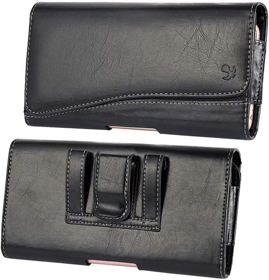 Leather Carrying Case Pouch Holster Fit Motorola Moto G7, G7 Play, G7 Plus, One, One Power, Z3 Play ZTE Blade Majesty Pro Plus, Sonata 3, Nubia X, Axon 9 Pro, Alcatel 5V,3, 3X, 1C
