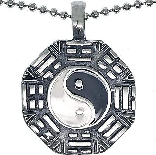 Yin Yang Shaolin Kung fu Pewter Boys Unisex Men Pendant Necklace Charm Amulet w Silver Ball Chain