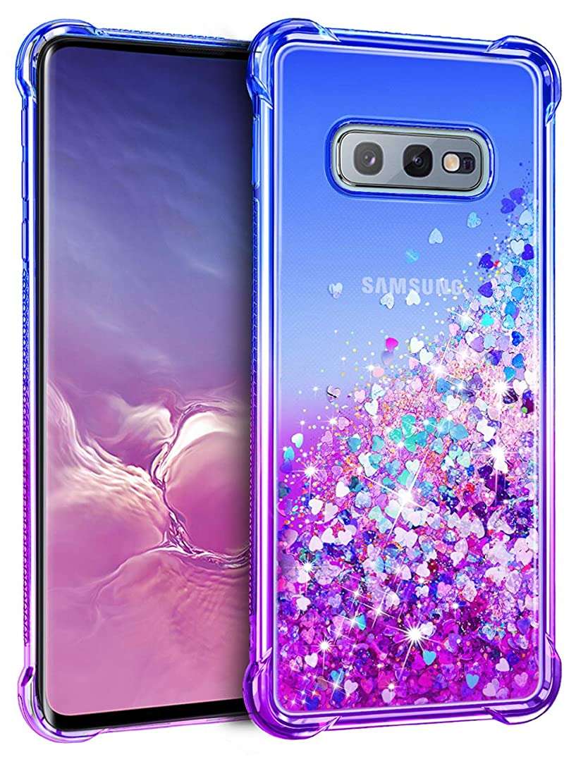Vofolen for Galaxy S10e Case Floating Glitter Bling Clear Cover for Girls Women Quicksand Design Impact Resistant Bumper Protective Hard Shell Hybrid TPU Armor Case for Samsung Galaxy S10e Blue Purple
