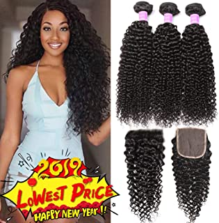 Flady Brazilian Curly Human Hair 3 Bundles with Closure 8a Unprocessed Virgin Curly Brazilian Hair with 4x4 Free Part Closure (16 18 20+14inch)