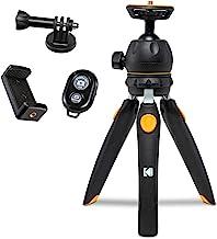 "KODAK PhotoGear Mini Adjustable Tripod with Remote, 360° Ball Head, Compact 9"" Tabletop Tripod,11"" Selfie Stick, 5-Positio..."
