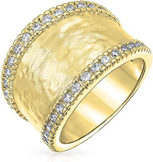 Boho Style CZ Accent Fashion Statement Brushed Hammered Matte Finish Wide Band Ring for Women 14K Gold or Silver Plated