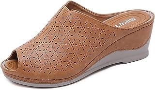 Femme Mules à Talons Compensees Sandales Bout Ouvert Cuir Pantoufles Plateforme Mode Chaussures d'été Confortables 35-41 EU