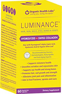 LUMINANCE®, Maximum Potency Anti-aging Formula - Hair, Skin, Nails, Eyes, Bones & Joints - 60 Veggie Caps - Rediscover Your Beauty!