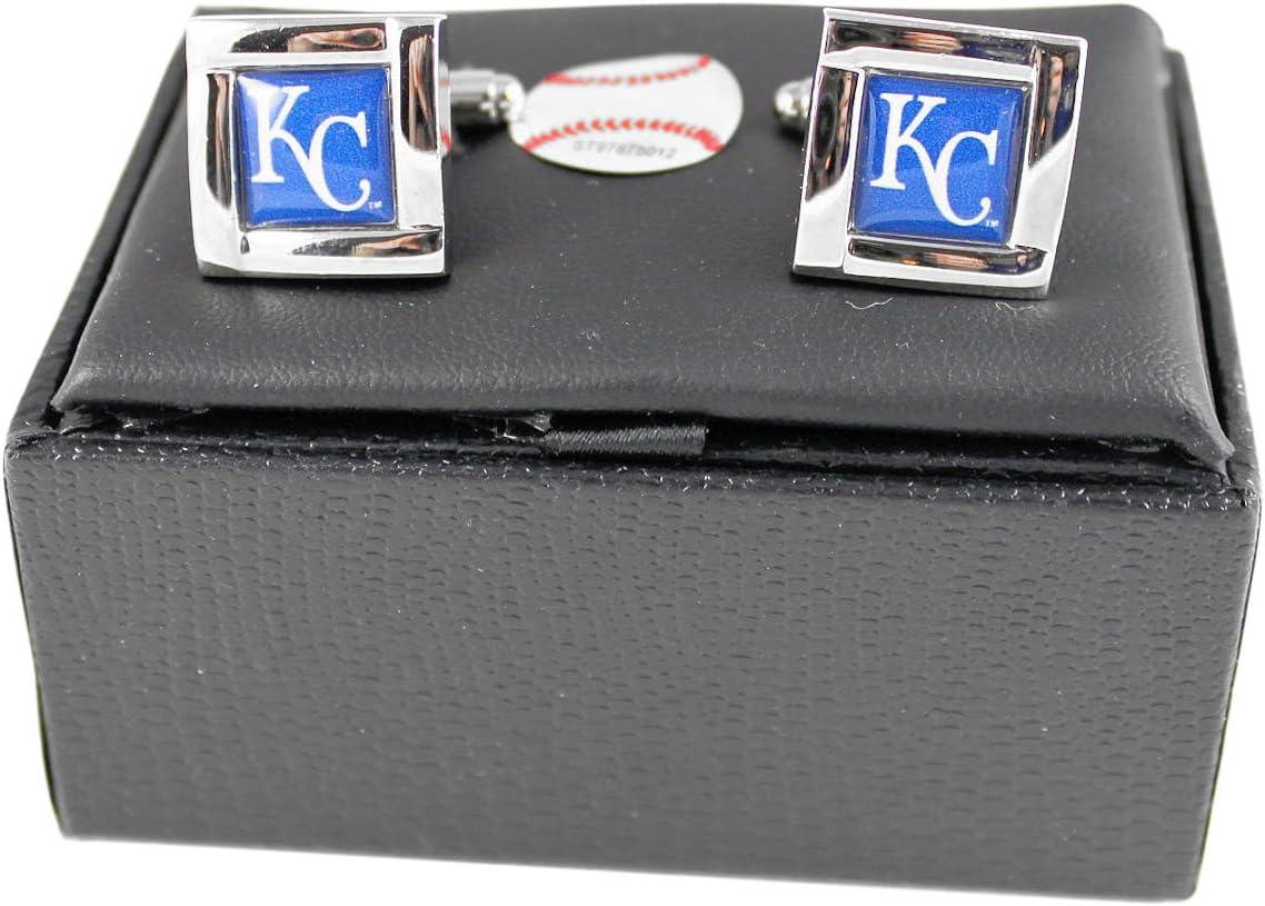 Aminco MLB Kansas Tulsa Mall Max 60% OFF City Royals Sports Cufflinks Square Team Logo