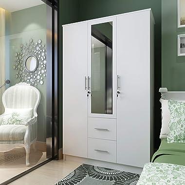 CozyCasa Armoire Wardrobe Closet Wood Clothes Cabinet with Mirror Doors 3 Drawers 6 Storage Shelves for Bedroom, 3-Door Woode