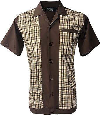Rockabilly Fashions Camisa casual para hombre de los años 50 1960 Vintage Retro Bowling Marrón a cuadros