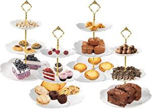 4 Pieces 3 Tier Cupcake Stand, European Style 3 Tiered Serving Stand for Cake Fruit,Includes 2Pcs Sakura-Shaped and 2 Pcs Round White Cake Stand for Wedding Birthday Tea Party Baby Shower