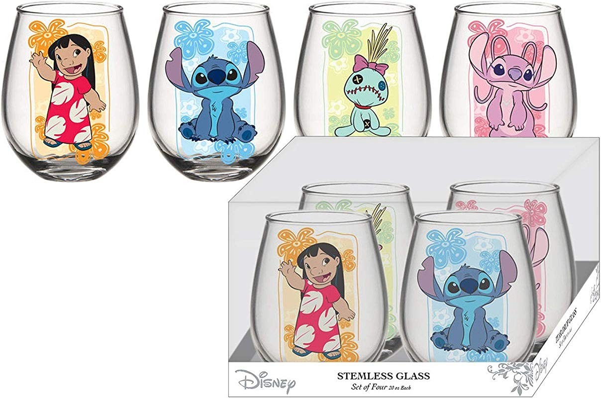 Lilo Stitch 4pc 20oz Stemless Wine Glass Set Standard