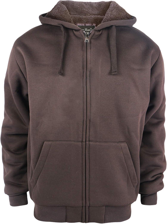 LeeHanTon Fashion Hoodies for Men Full Zip Up Sherpa Lined Sports Sweatshirts Mens Winter Fleece Fabric Jacket with Hood