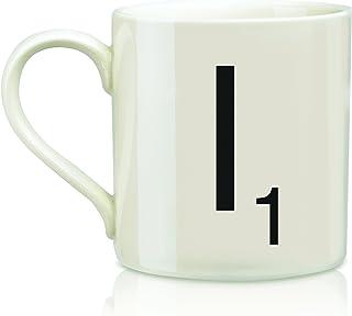 Scrabble Letter Ceramic I Scrabble Mug, Cream/Black (14 Ounces)