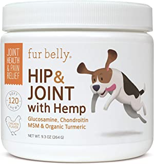 Glucosamine for Dogs - Hip & Joint Supplement for Dogs - Chondroitin, MSM, Omega 3 for Dogs, Organic Hemp & Turmeric - Joint Support & Pain Relief, 120 Soft Chew Dog Treats