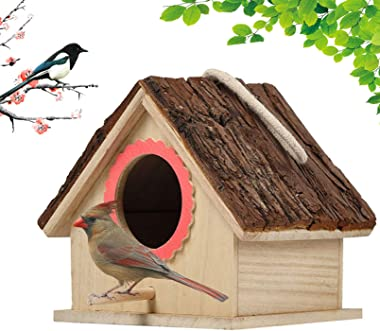 kathson Wooden Bird House Hanging Hummingbird Nest Natural Cedar Outside Garden Patio Decorative for Dove Finch Wren Robin Sp