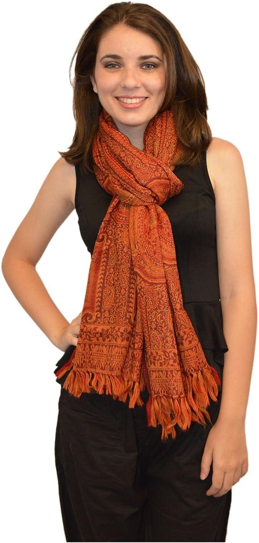 Maroon and orange Traditional Embroidered Jamawar Wool Shawl