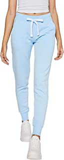 esstive Women's Ultra Soft Fleece Basic Midweight Casual Solid Jogger Pants, Blue, X-Large