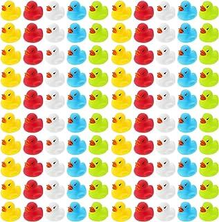Wellgro 100 Patos de baño (Amarillo, Rojo, Blanco, Azul, Verde), Cada Pato de Goma Mide Aprox. 3,5 x 3 cm (diámetro x Altura), Patito de Goma, en Red.