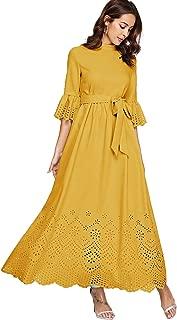 Women's Scalloped Laser Cut Flounce Sleeve Hem Self Belted Maxi Dress