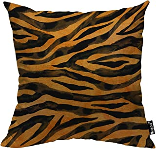 Mugod Animal Fur Skin Throw Pillow Cover Tiger Black Yellow Orange Brown Stripe Wildlife Decorative Pillow Cases Square Cotton Linen Cushion Cover for Home Bed Sofa Couch 18x18 Inch