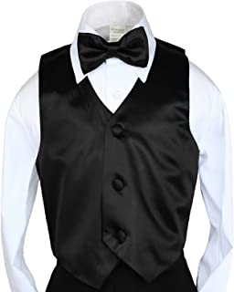 New 2pc Boys Satin Black Vest and Bow tie Set from Baby to Teen