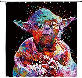 AMNYSF Star Wars Shower Curtain Colorful Master Yoda Monster Decor Black Fabric Bathroom Curtains Waterproof Polyester with Hooks 70x70 Inches
