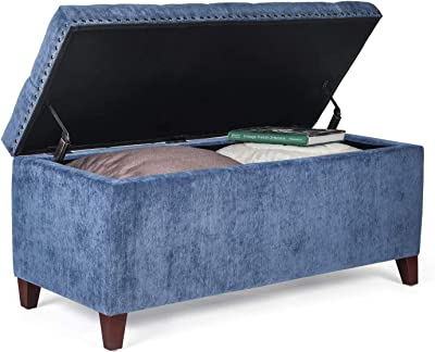 Homebeez Velvet Storage Ottoman Bench Tufted Foot Stool Rest with Wood Legs (Steelblue), Large