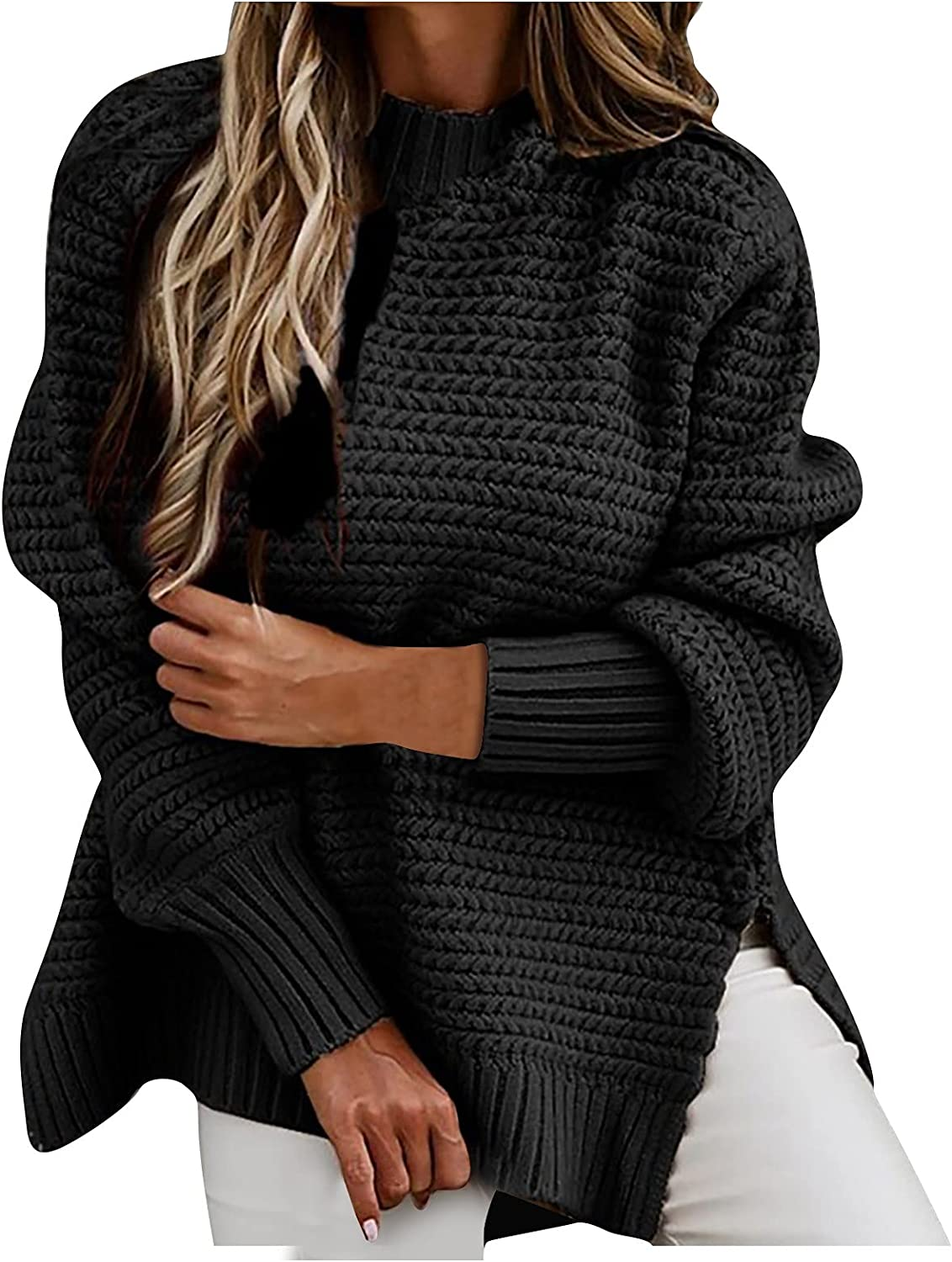 Cardigoo Sweaters for Women Half High Neck Loose Solid Color Long-Sleeved Thick Needle Side Slit Knitted Sweater