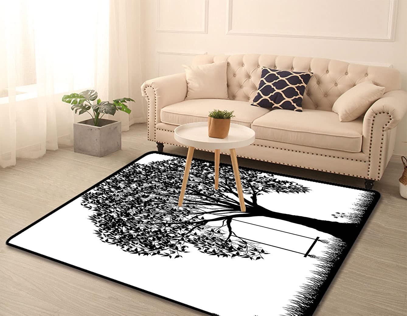 Tree Decor Custom Print Rugs A Swing Seasonal Wrap Introduction Silhouette with a discount Ill