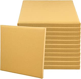 BQLZR 30x30x2.5cm Light Yellow A Type Fiberglass Acoustic Home Studio Soundproof Sound Absorbing Panel Tiles Pack of 12
