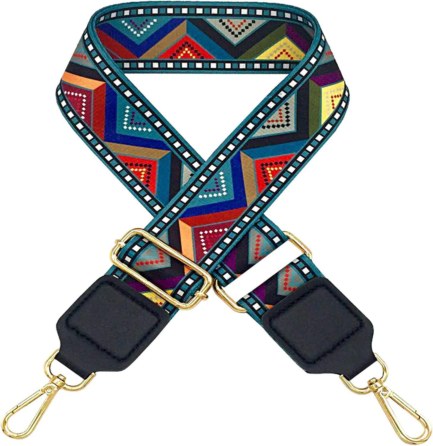 Gold Hook 2 Heavy Duty Shoulder Crossbody Bag Belt Handle Adjustable Ethnic Style Colorful Bag Strap Wide Handbag Accessories