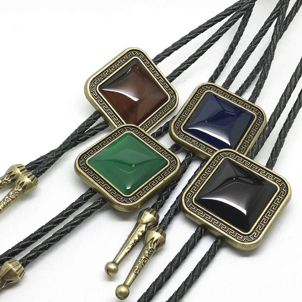 gujiu 4Pcs Bolo Tie for Men Leather Necktie Handmade Round Shape Bolo Tie Halloween Costume Accessories Necktie