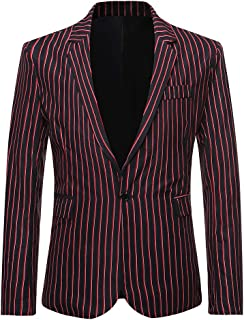YOUTHUP Mens Stripe Blazer Slim Fit Vertical Stripes Suit Jacket 1 Button Business Dress Jackets