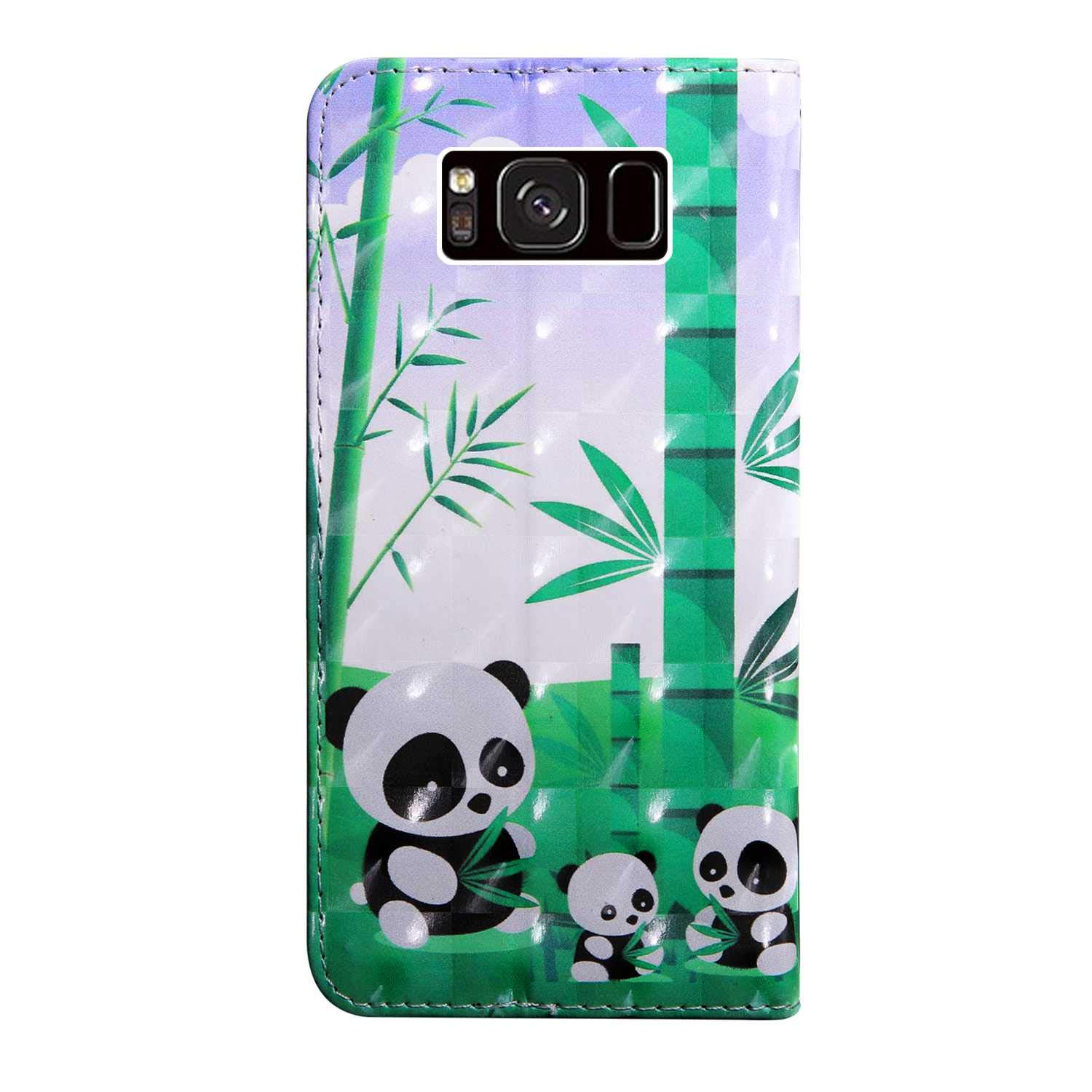#2 Cat Bear Village Galaxy S8 Case PU Leather Book Style Cover with Card Slots 3D Pattern Design Wallet Flip Case for Samsung Galaxy S8