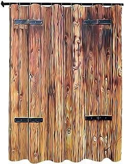 風化したトーンの素朴でアンティークな木材の板 アート絵画 シャワー カーテン 180 x 200cm ロック付きビンテージスタイルのカントリーハウスの写真装飾 ホワイト カーテン 清潔感 バス用品 カーテン バスルーム お風呂 洗面所 間仕切り...