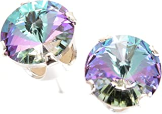 925 Sterling-silver stud earrings made with sparkling Starlight crystal from Swarovski. London gift box.