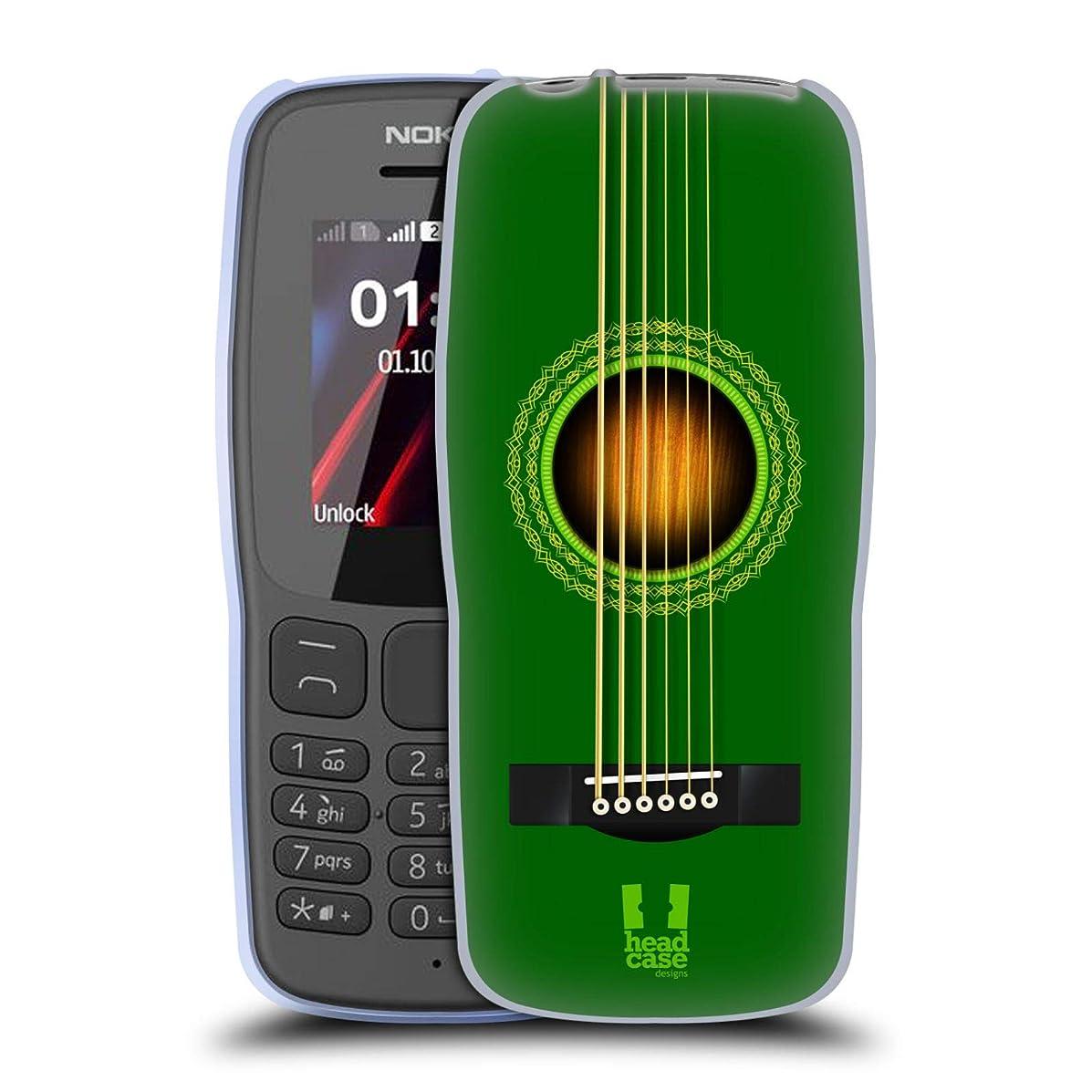 Head Case Designs Green Acoustic Guitar Soft Gel Case for Nokia 106 (2018)