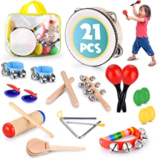 Toddler Educational & Musical Percussion for Kids & Children Instruments Set 21 Pcs � With Tambourine, Maracas, Castanets & More � Promote Fine Motor Skills, Enhance Hand To Eye Coordination,