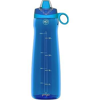Pogo Botella de agua con paja suave, Azul, 40oz.