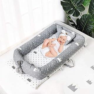 Mooedcoe Nido de Bebé, Cama de Bebé Recién Nacido, Cama de Viaje Portátil para Dormir, Transpirable, Colchón Suave 100% Algodón con Almohada (0-24 meses)