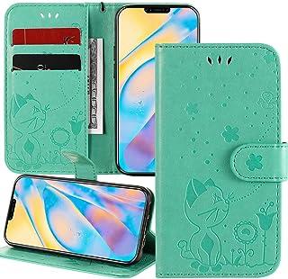 XYX Capa carteira compatível com LG K22, estampa de abelha gato em relevo capa flip de couro PU para LG K22 Plus, verde
