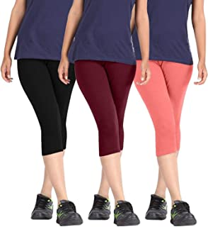 Fablab Capri Leggings 3/4th Pants for Girls|Ladies| Women.(BlackMaroonPeach,Free Size) Combo Pack of 3.
