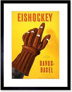 The Art Stop AD ICE Hockey Match Basel Davos Sport Glove Switzerland Framed Print B12X3151
