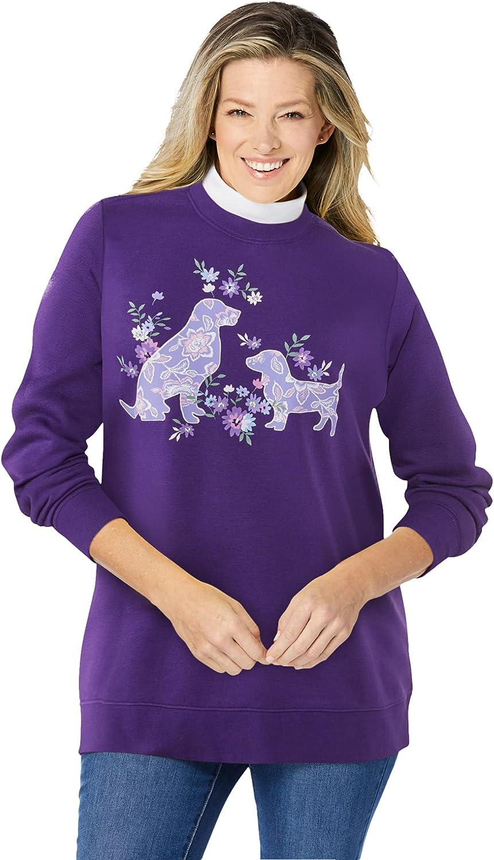 Woman Within Women's Plus Size Layered-Look Sweatshirt