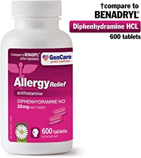 GenCare - Allergy Relief Medicine | Antihistamine Diphenhydramine HCl 25mg (600 Tablets Per Bottle) Value Pack | Relieve for Itchy Eyes, Sneezing, Runny Nose | Seasonal or Indoor & Outdoor Allergies
